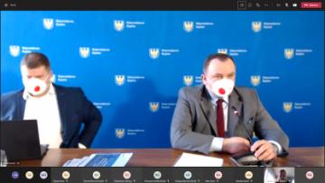 Marszałek Jakub Chełstowski i Wicemarszałek Wojciech Kałuża podczas warsztatu
